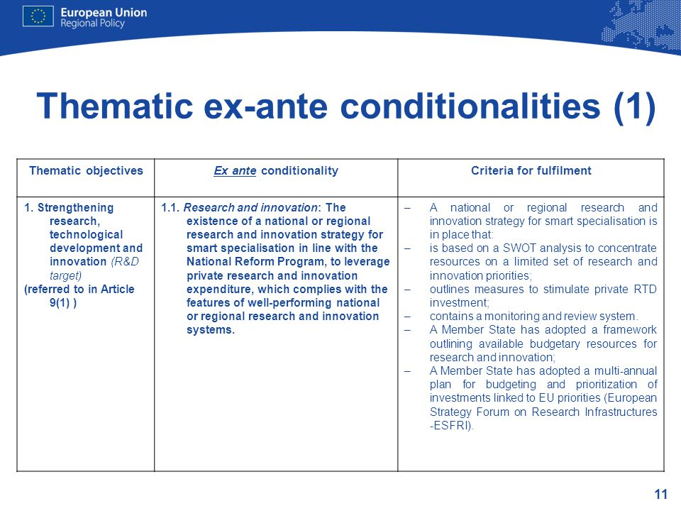 Thematic ex-ante conditionalities (1)