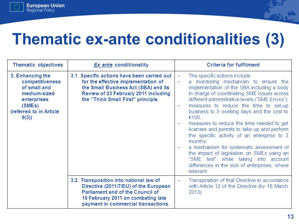 Thematic ex-ante conditionalities (3)
