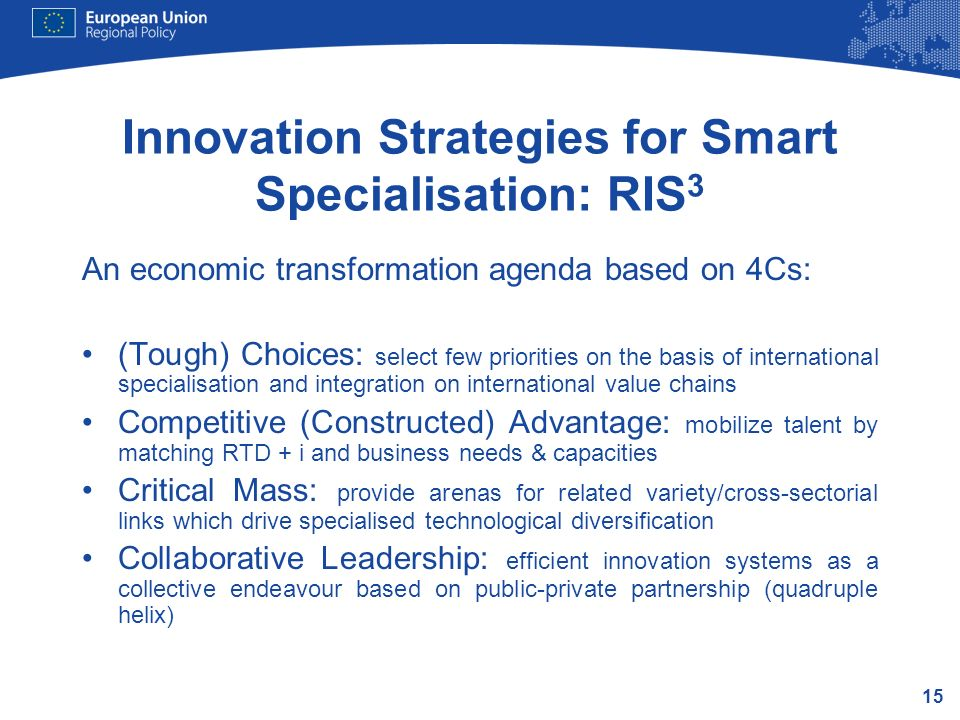 Innovation Strategies for Smart Specialisation: RIS3