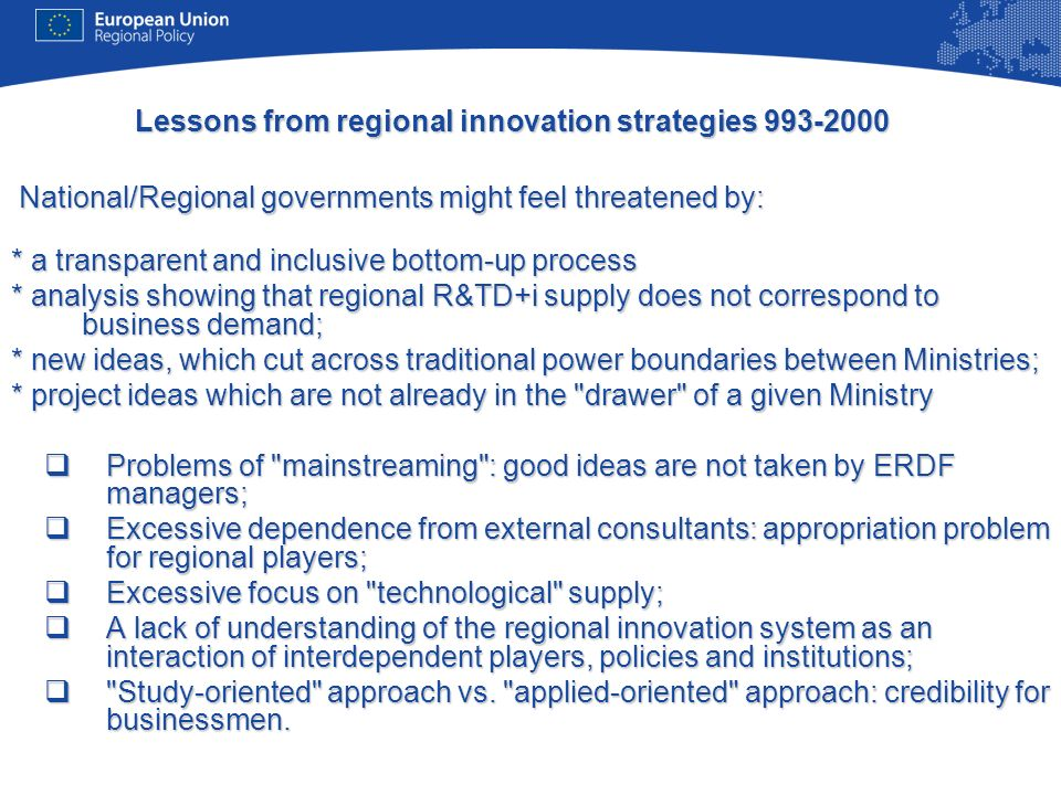 Lessons from regional innovation strategies 993-2000