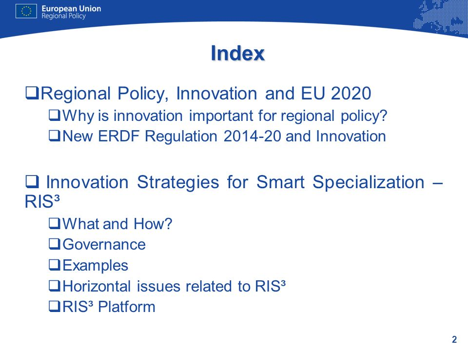 Index Regional Policy, Innovation and EU 2020