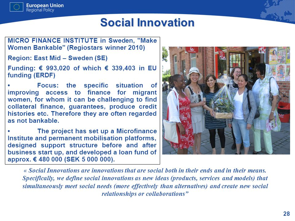 Social Innovation MICRO FINANCE INSTITUTE in Sweden, Make Women Bankable (Regiostars winner 2010)