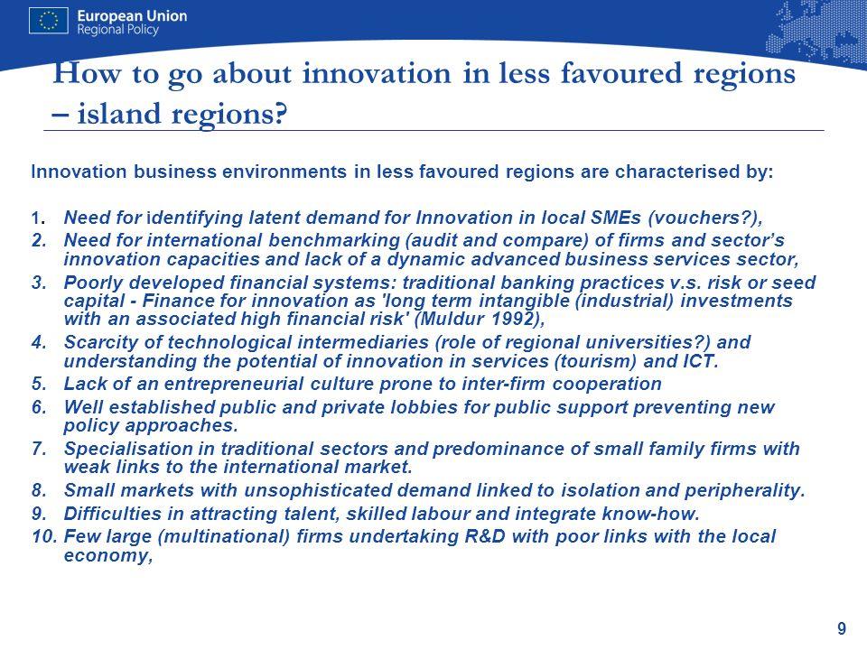 How to go about innovation in less favoured regions – island regions