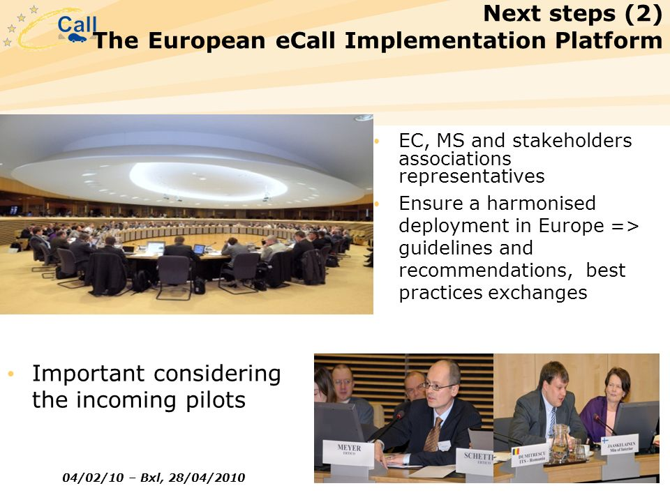 Next steps (2) The European eCall Implementation Platform