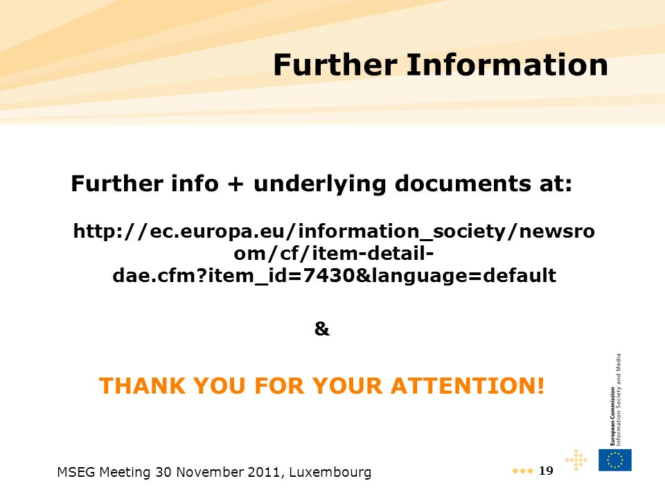 Further info + underlying documents at: THANK YOU FOR YOUR ATTENTION!