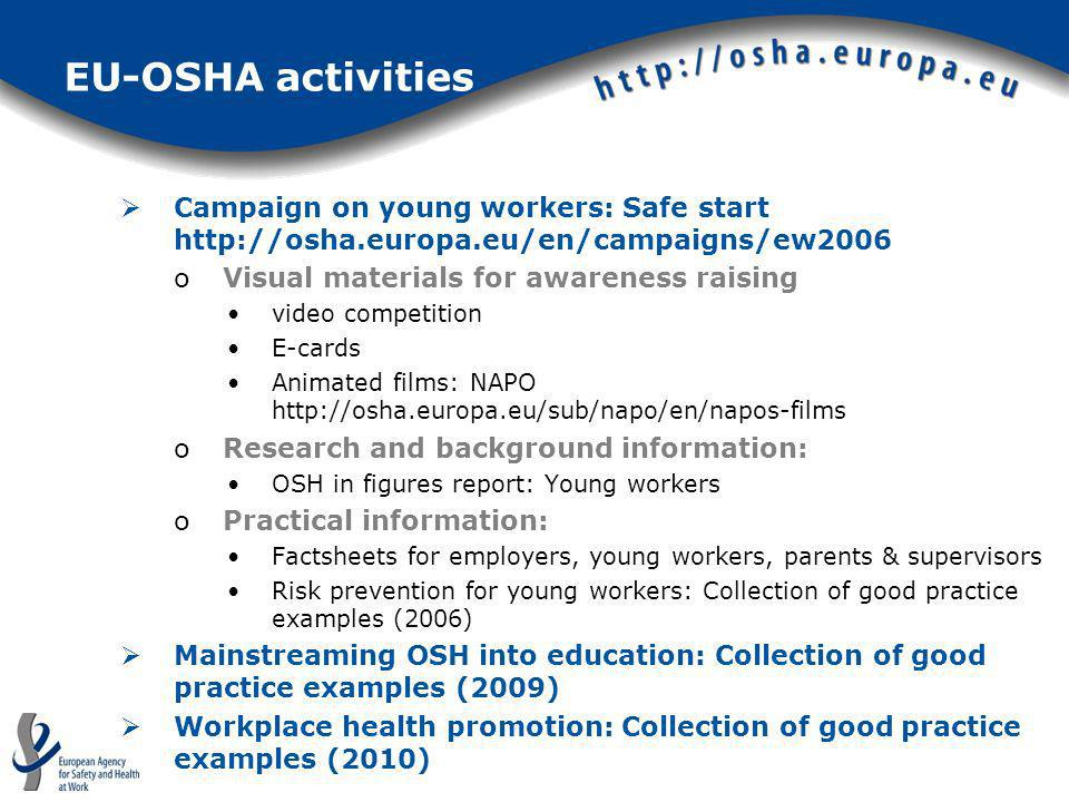 EU-OSHA activities Campaign on young workers: Safe start http://osha.europa.eu/en/campaigns/ew2006.
