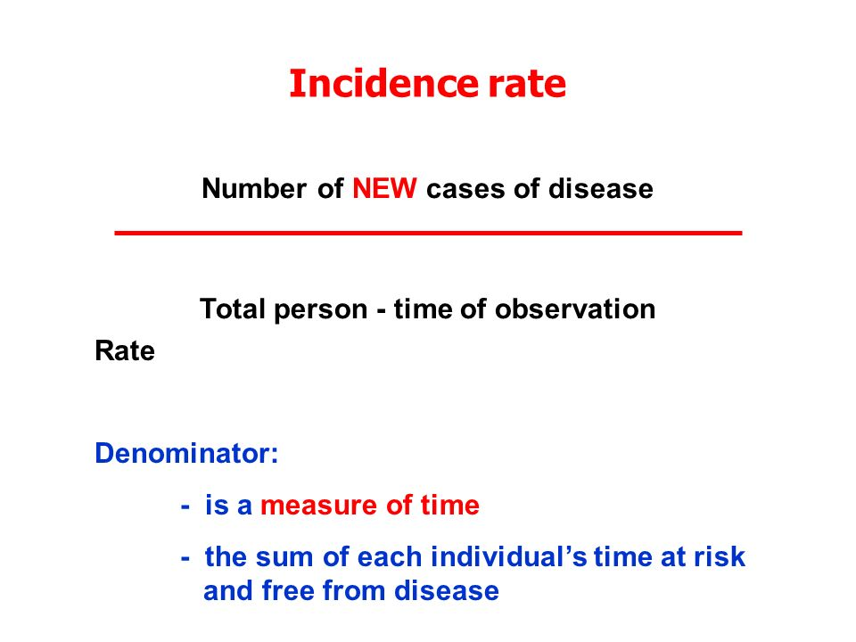 Number of NEW cases of disease Total person - time of observation