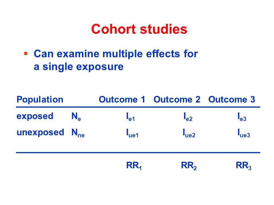 Cohort studies Can examine multiple effects for a single exposure