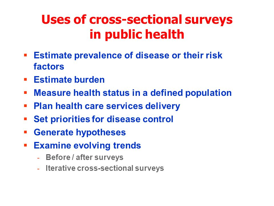 Uses of cross-sectional surveys in public health