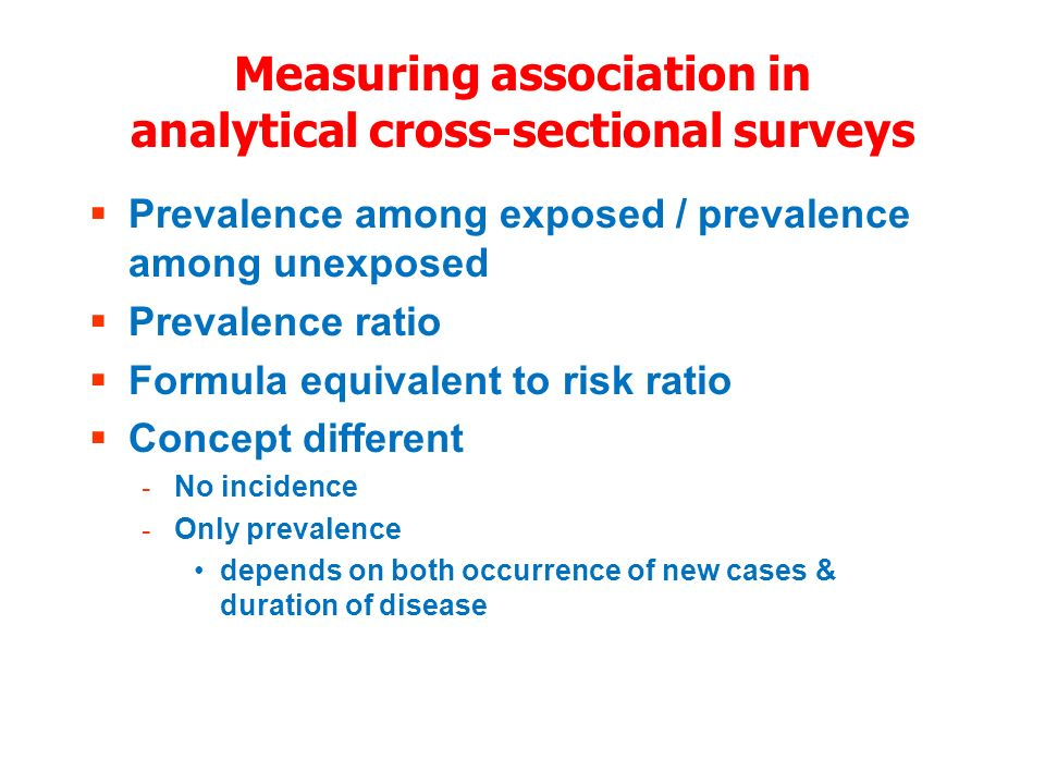 Measuring association in analytical cross-sectional surveys