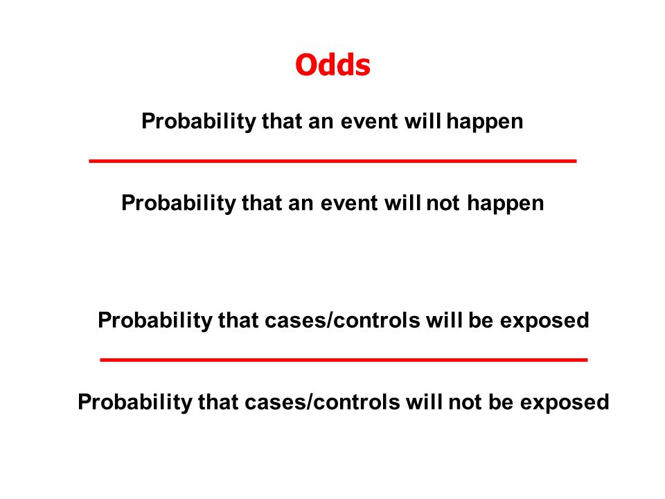 Odds Probability that an event will happen