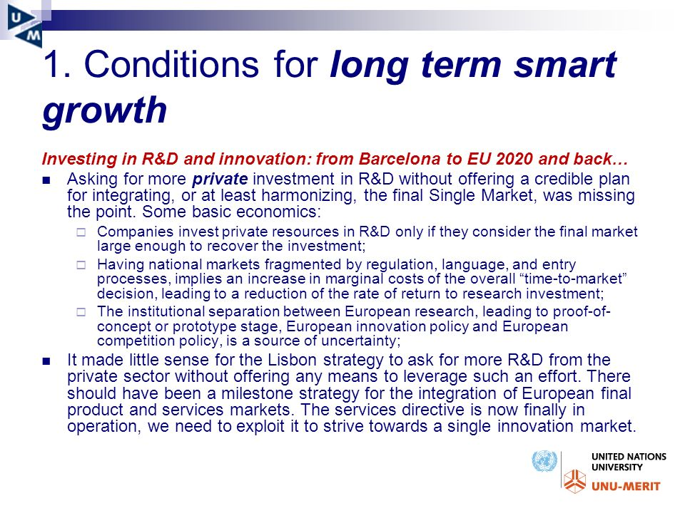 1. Conditions for long term smart growth