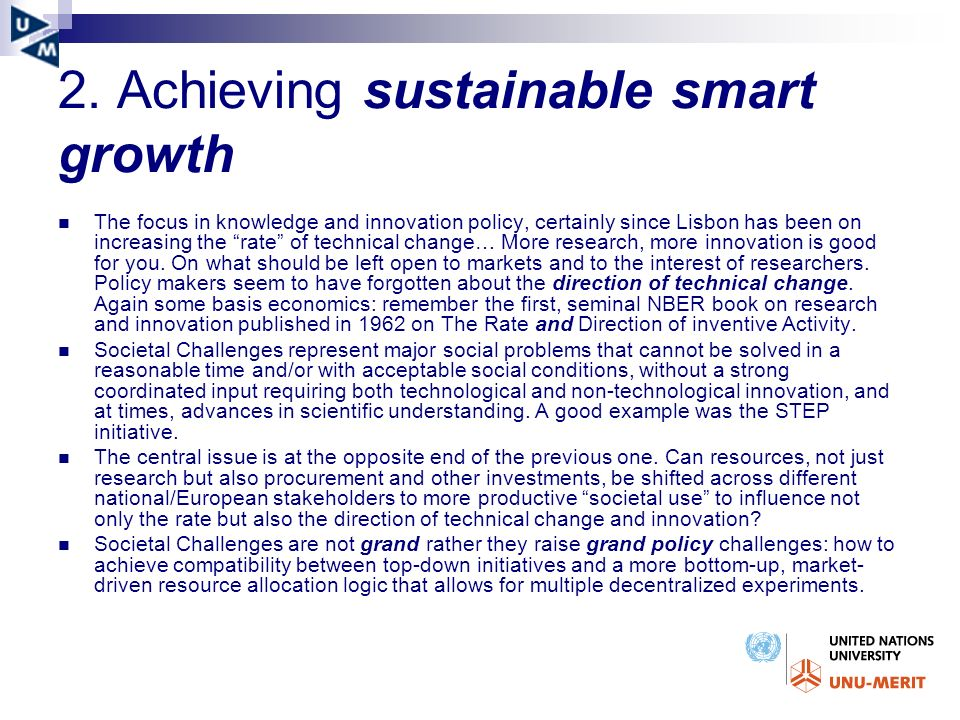2. Achieving sustainable smart growth