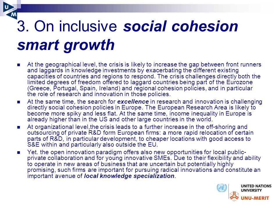 3. On inclusive social cohesion smart growth