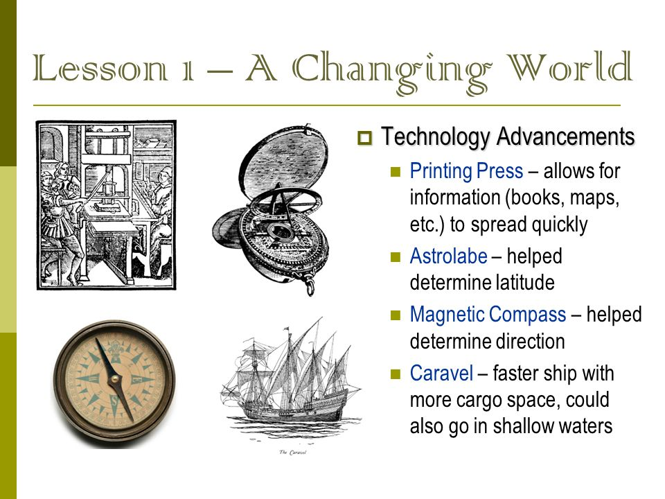 Lesson 1 – A Changing World