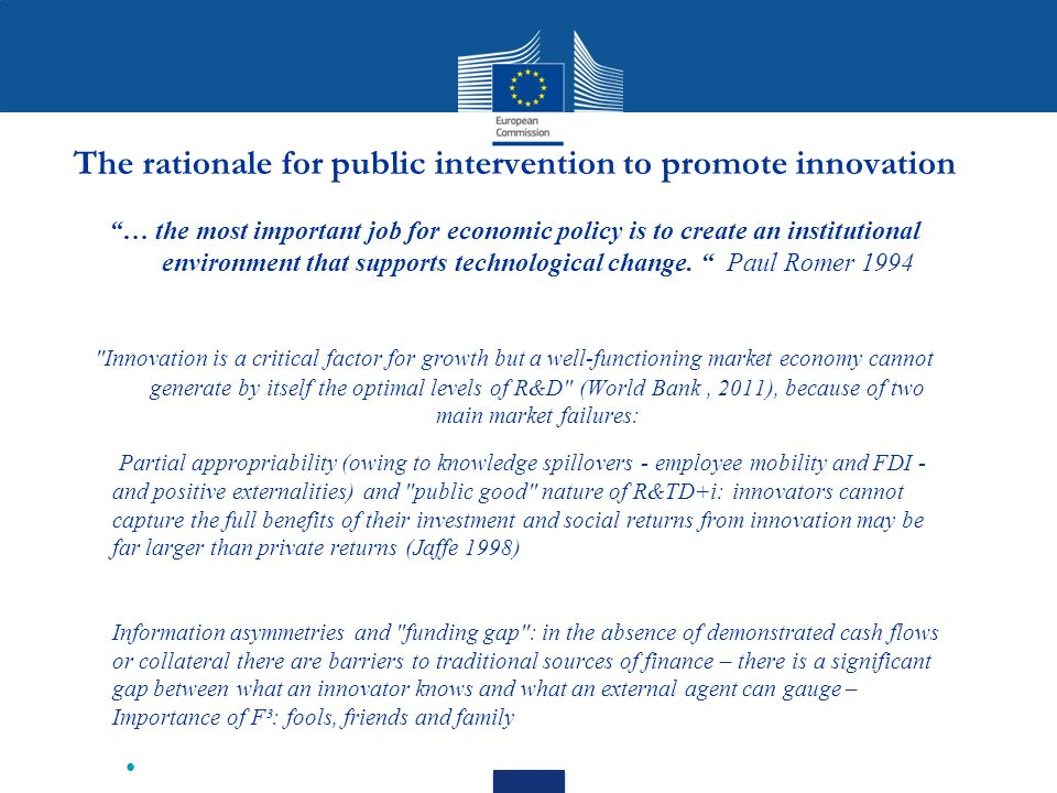 The rationale for public intervention to promote innovation