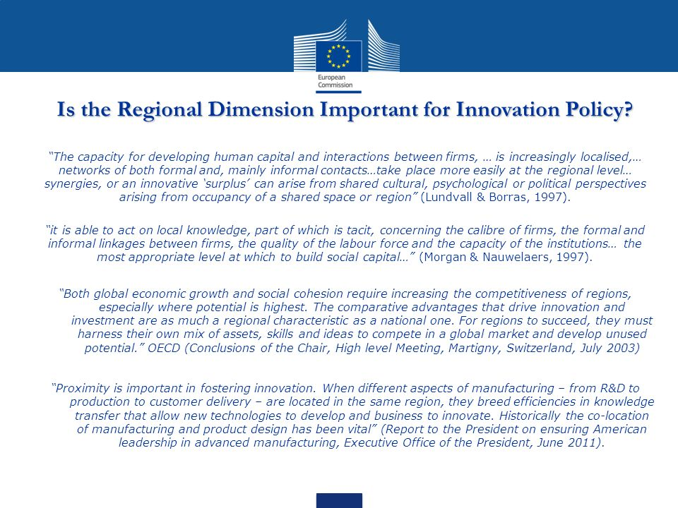 Is the Regional Dimension Important for Innovation Policy