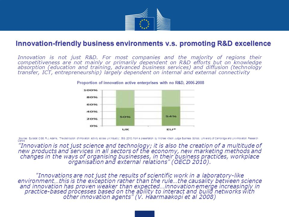 Proportion of innovation active enterprises with no R&D, 2006-2008