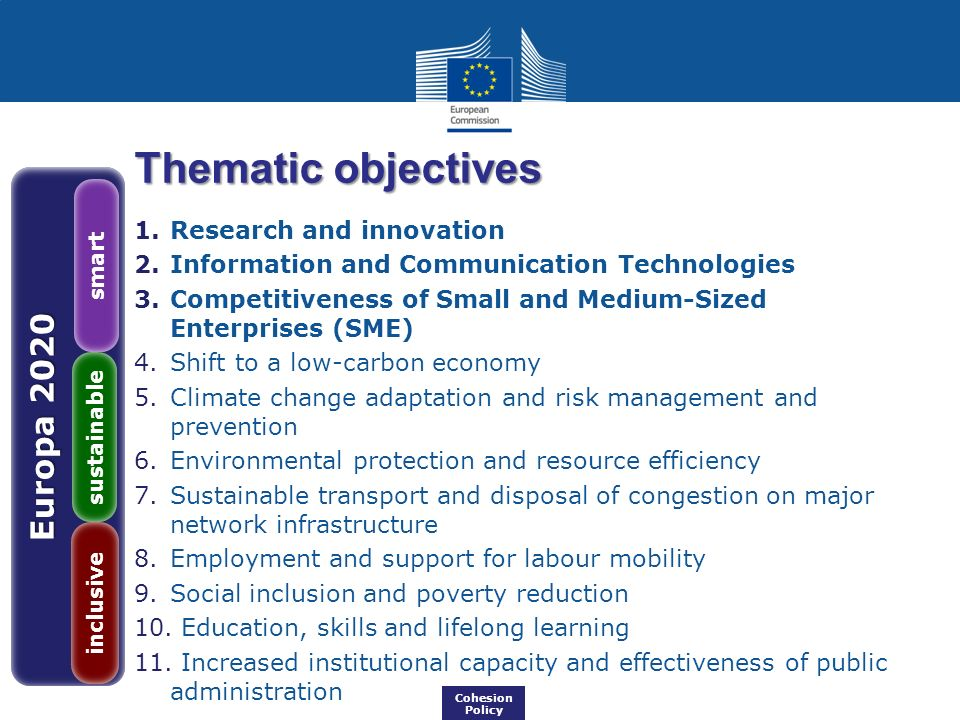 Thematic objectives Europa 2020 Research and innovation