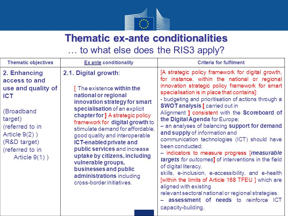 Thematic ex-ante conditionalities … to what else does the RIS3 apply