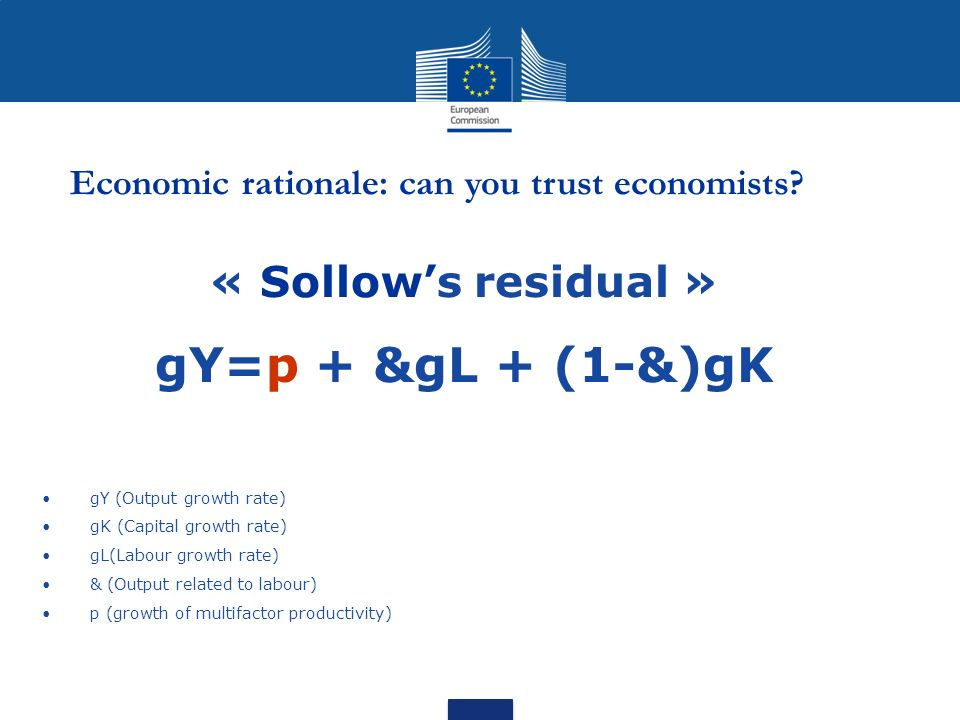 gY=p + &gL + (1-&)gK « Sollow's residual »
