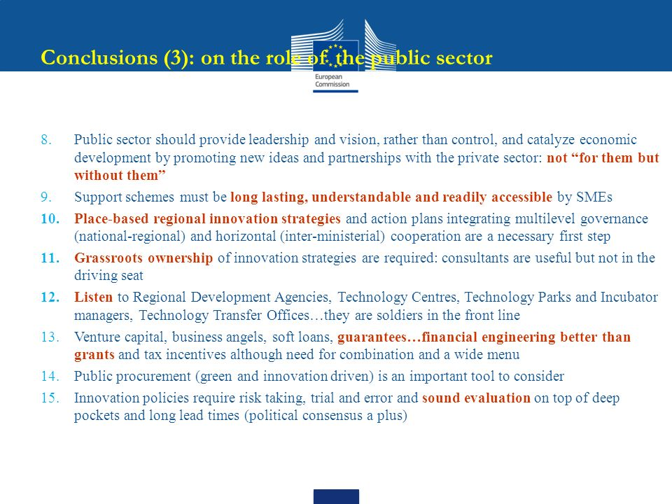 Conclusions (3): on the role of the public sector