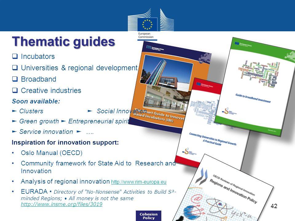 Thematic guides Incubators Universities & regional development