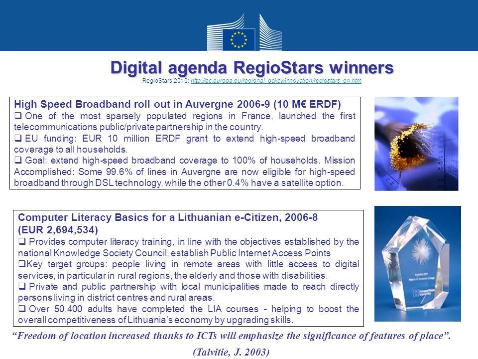 Digital agenda RegioStars winners RegioStars 2010: http://ec. europa