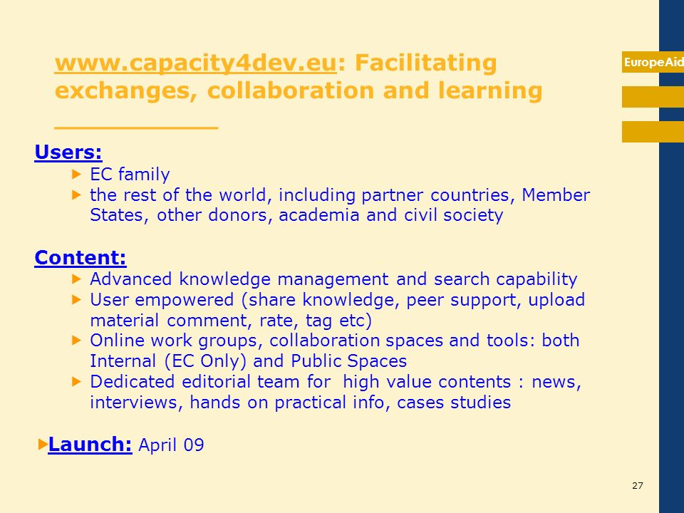 Axis 4: Communication, knowledge management and training __________