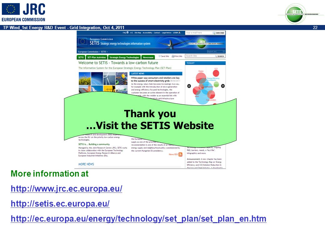 …Visit the SETIS Website