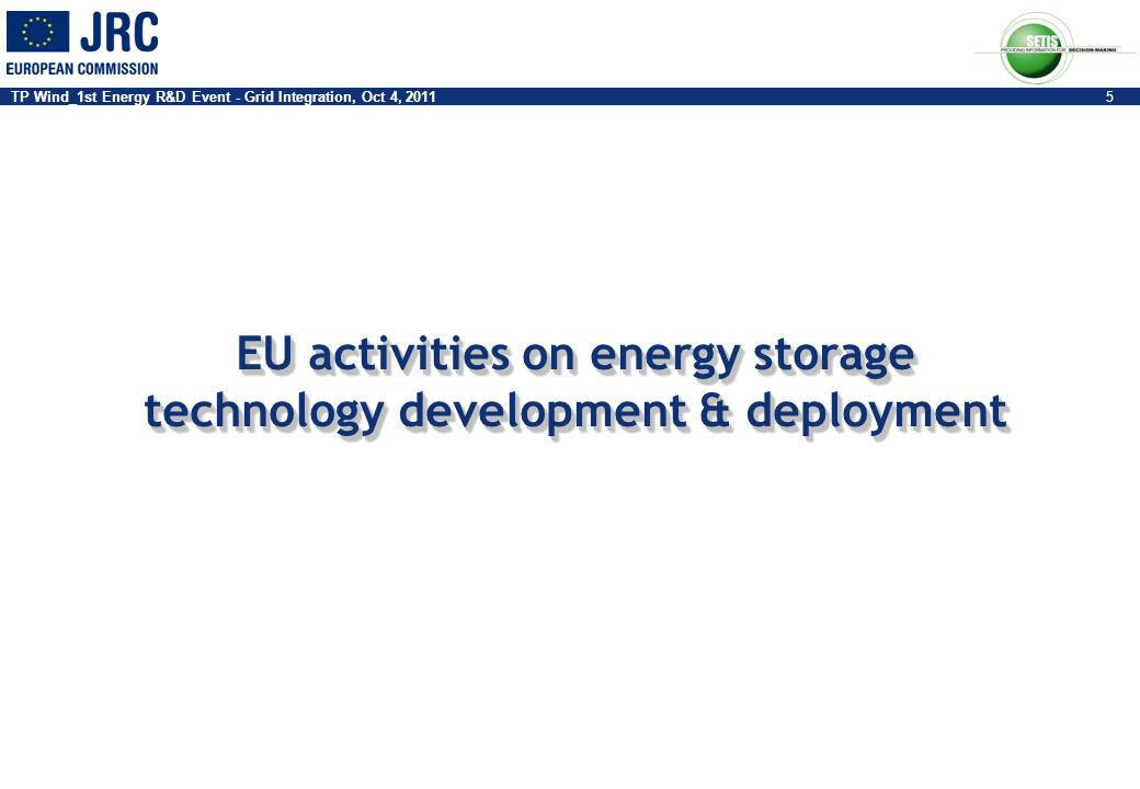 EU activities on energy storage technology development & deployment