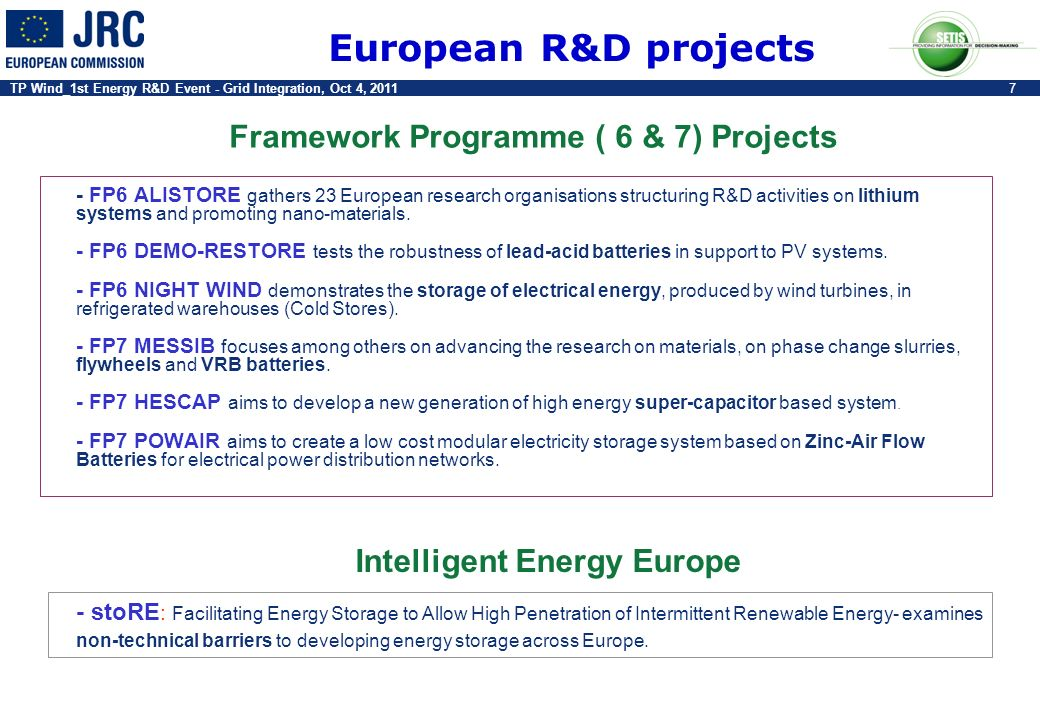 Framework Programme ( 6 & 7) Projects