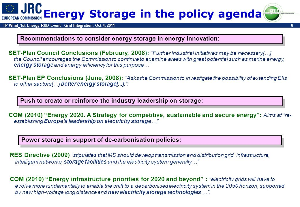 Energy Storage in the policy agenda