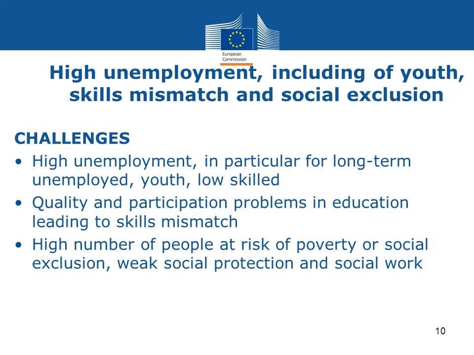 High unemployment, including of youth, skills mismatch and social exclusion