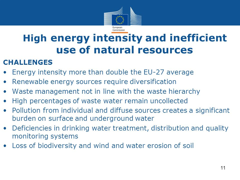 High energy intensity and inefficient use of natural resources