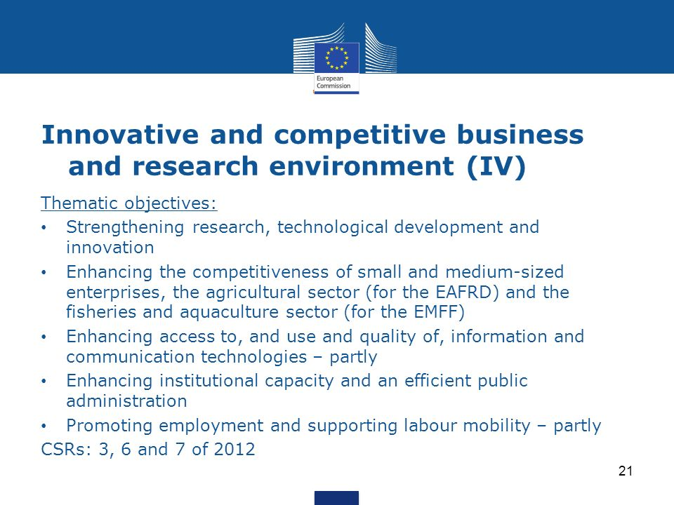 Innovative and competitive business and research environment (IV)
