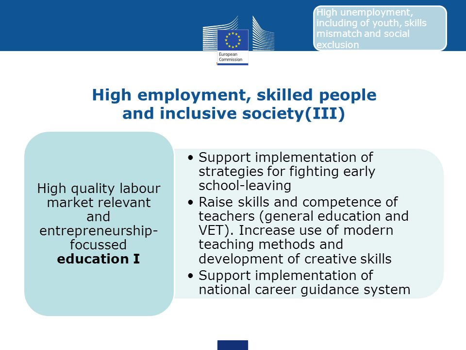High employment, skilled people and inclusive society(III)
