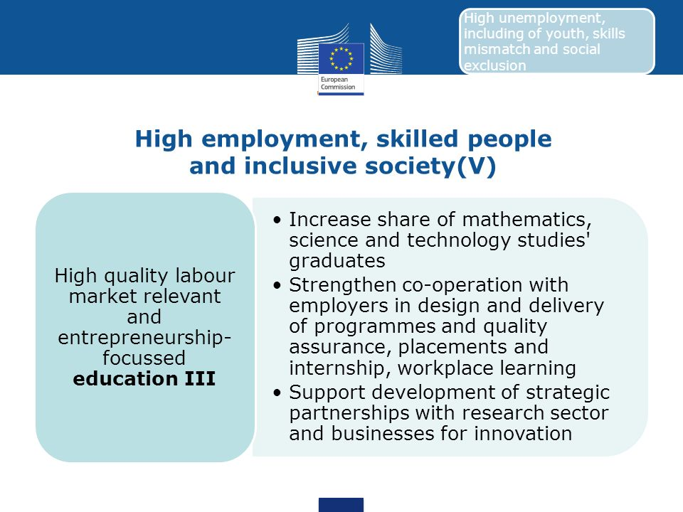 High employment, skilled people and inclusive society(V)