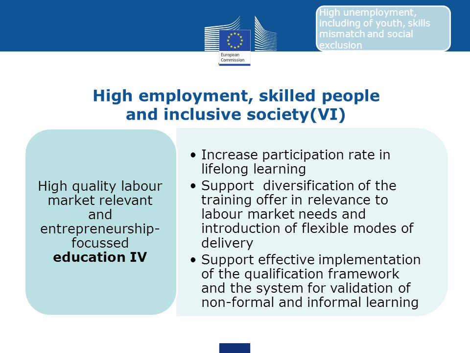 High employment, skilled people and inclusive society(VI)