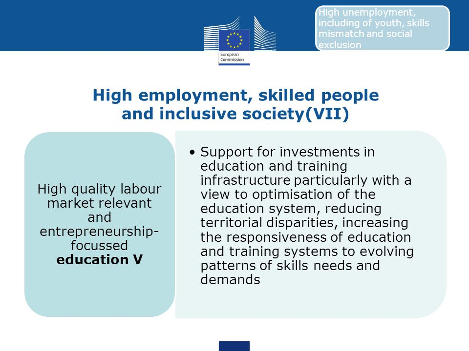 High employment, skilled people and inclusive society(VII)