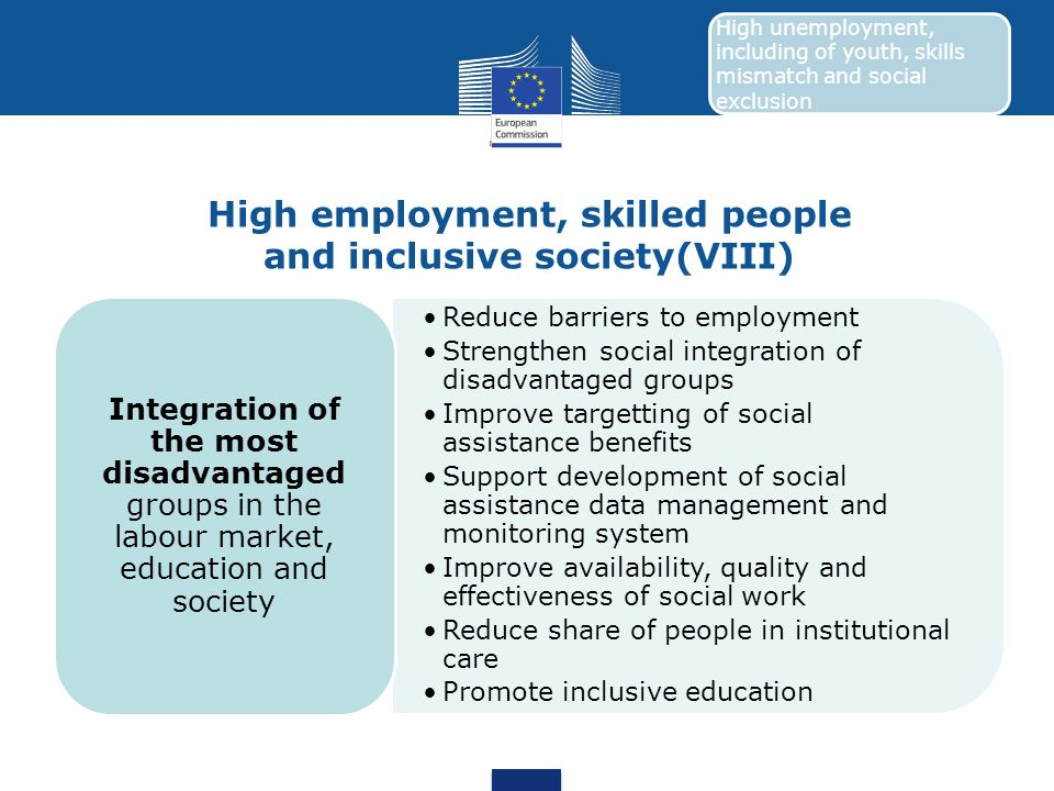 High employment, skilled people and inclusive society(VIII)