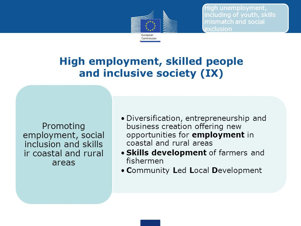 High employment, skilled people and inclusive society (IX)
