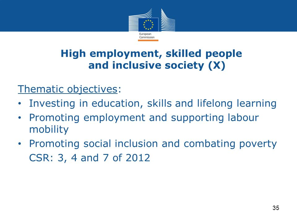 High employment, skilled people and inclusive society (X)