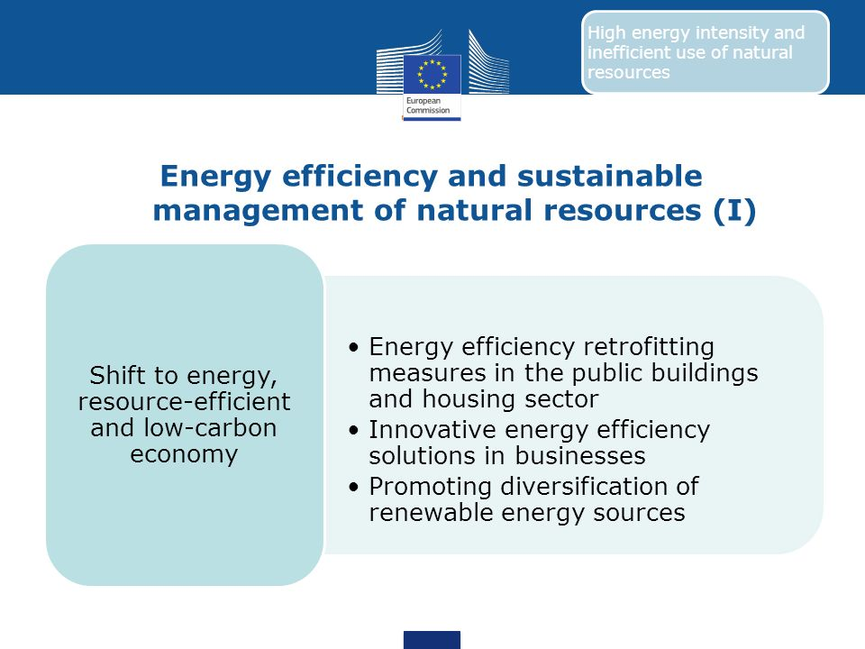 Energy efficiency and sustainable management of natural resources (I)