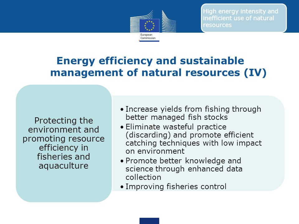 Energy efficiency and sustainable management of natural resources (IV)