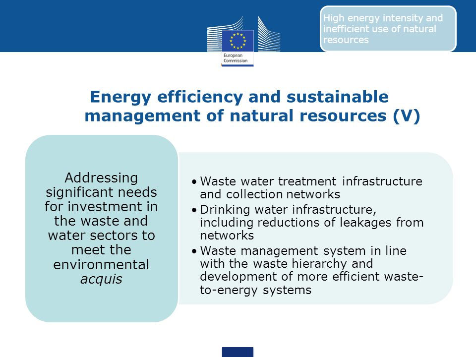 Energy efficiency and sustainable management of natural resources (V)