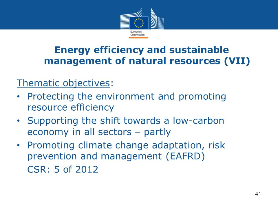 Energy efficiency and sustainable management of natural resources (VII)