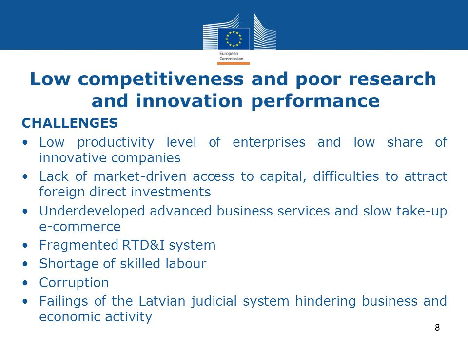 Low competitiveness and poor research and innovation performance