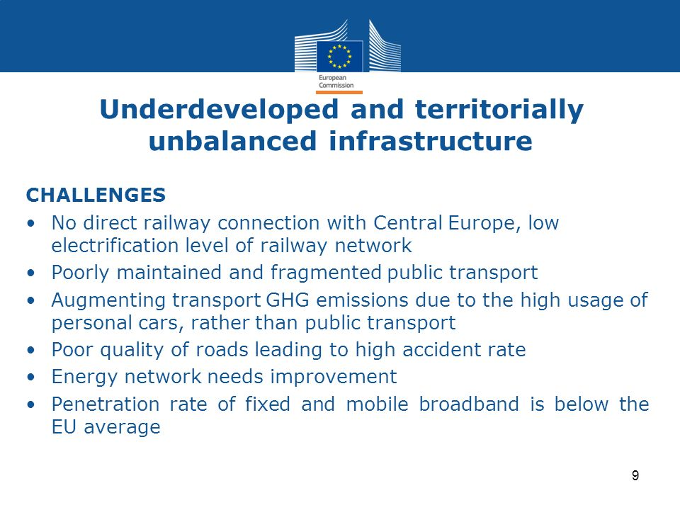 Underdeveloped and territorially unbalanced infrastructure