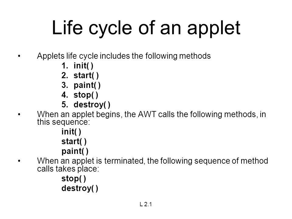 applet life cycle in java pdf